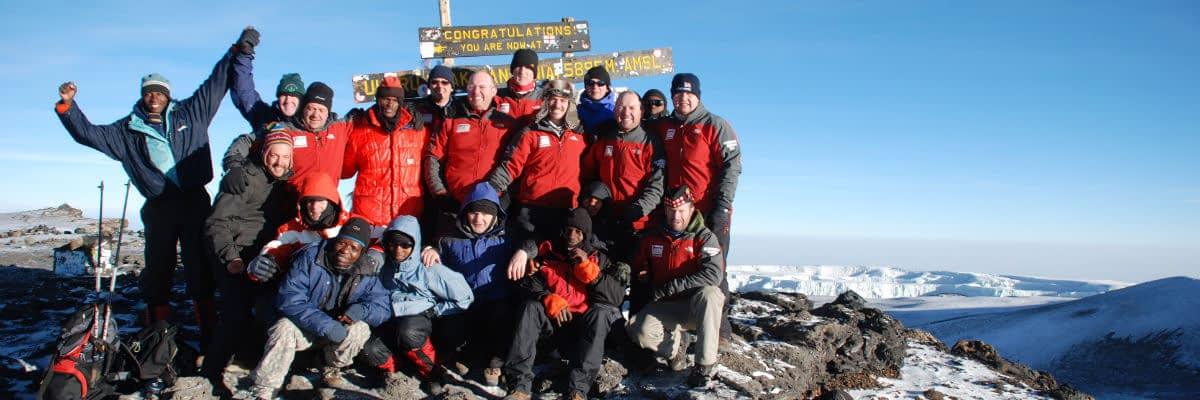 Group of 12 Scots at Kilimanjaro's Uhuru Peak