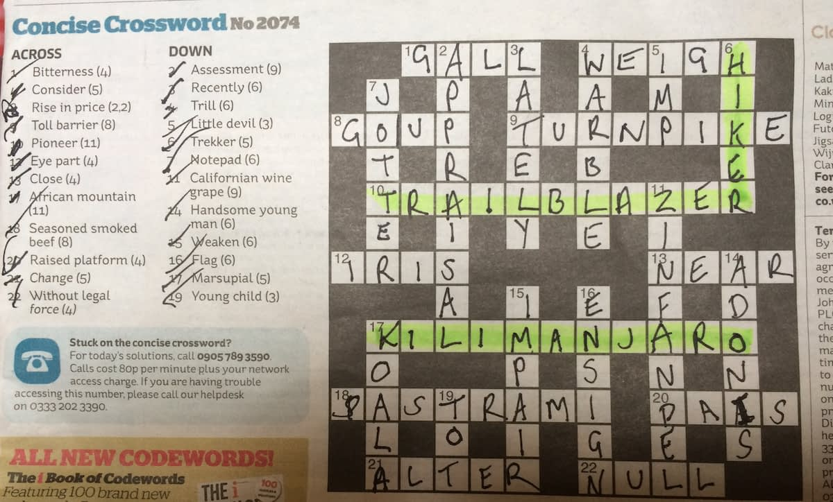 A crossword featuring Hiker, Trailblazer and Kilimanjaro