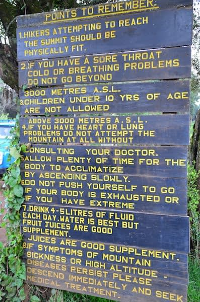 Signboard on Kilimanjaro on fitness preparation