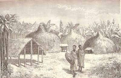 Machame village on the slopes of Kilimanjaro, with two villagers, one with spear and shield, stand in front of thatched huts and shelters, drawn by Mgr Le Roy