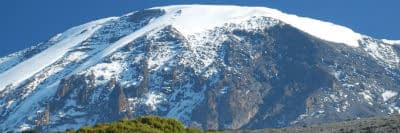 The southern icefields and glaciers of Kilimanjaro's main Kibo Summit, taken from the Mweka Route