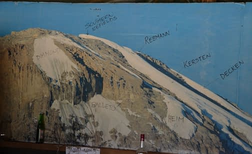 Diagram of Kilimanjaro's glaciers from a poster at the back wall of Moshi's Glacier Bar, with a couple of beer bottles in from