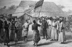 Drawing of the moment when Henry Morton Stanley meets David Livingstone, each men raising their hat to the other, while a local stands between them holding a loft an American flag