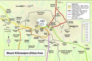 Trekking route map for Kilimanjaro