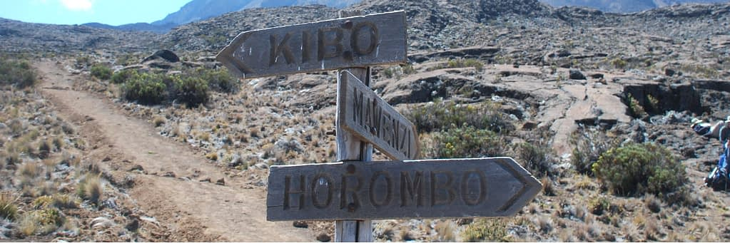 Close-up of wooden signpost above Horombo Huts