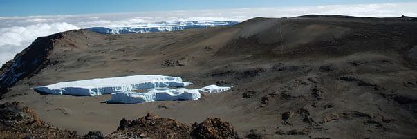 Furtwangler Glacier on the crater floor of Kilimanjaro's main Kibo summit, taken from Uhuru Peak
