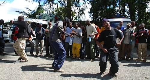 Porters dancing