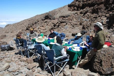 Eating lunch at School Huts on Kilimanjaro