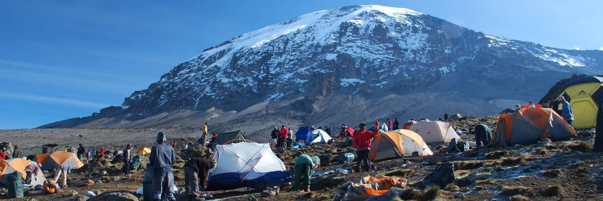 Breaking camp at Barafu Campsite
